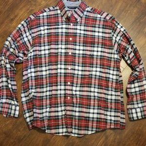 Mens Large Nautica Red plaid long sleeve shirt